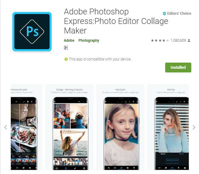 best photo editing app for android - Adobe photoshop express 2